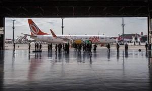 Primeiro voo comercial brasileiro com biocombustível, da Gol (Foto: Marlene Bergamo/Folhapress)