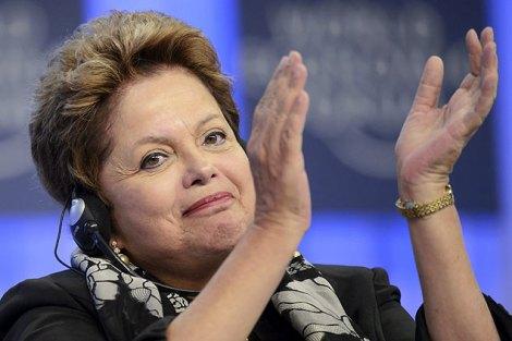 A presidente Dilma Rousseff durante discurso no Fórum Econômico Mundial, em Davos, Suíça (Foto:Laurent Gillieron/Efe)